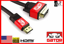 HDMI to DVI-D Male Cable Gold 24+1 HDTV DVI HDMI Cable 1080P Adaptor DVI HD 6 FT