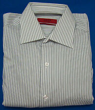 Alfani - Gray & White Stripe Fitted Long Sleeve Shirt  Size Small 14 1/2 - 32-33