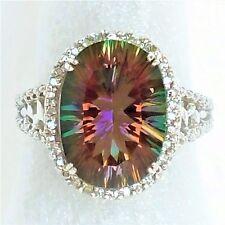 Clyde Duneier Womens 10K Solid White Gold Ring 15ct Mystic Topaz Diamond Halo
