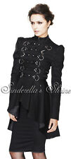 HELL BUNNY Black Industrial STEAMPUNK Redemption Military Frock Coat L UK 12-14