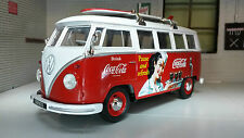 VW Bay T1 Surf Surfing Camper Campervan Welly 1:24 Scale Diecast Coca Cola Model