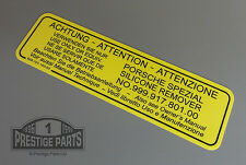 ENGINE BAY RESTORATION DECAL PORSCHE 924 - SILICON REMOVAL STICKER