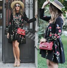 ZARA BLACK EMBROIDERED LONG SLEEVE DRESS SIZE:M
