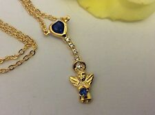 "Necklace Heart Angel Sapphire Swarovski Rhinestone goldtone 16""Gift Post Free UK"