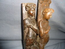 TWO 17TH CENTURY CARVED WALNUT  FIGURE MOUNTS