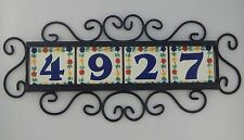 FL) FOUR  Mexican HOUSE  NUMBER Tiles & Iron Frame