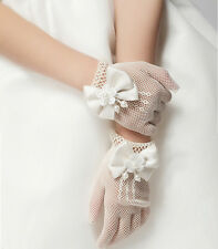 Girls Cream Lace Pearl Fishnet Gloves First Communion Wedding Flower Girl Party