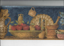 WALLPAPER BORDER KITCHEN SHELF APPLE POTTERY CROCKS CANDLE CUPS NEW ARRIVAL PEAR