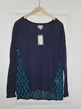 NWT $69 Lucky Brand by Peter Dunham Print Women's Shirt Sheer Blouse Navy Large