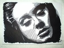A4 Black Ink Marker Pen Sketch Drawing Adele Laurie Blue Adkins