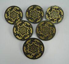 Antique large set of six French AP & Cie Paris steel & gilt metal buttons