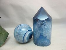 Pair of dyed blue druzy quartz crystal stone 39MM sphere and pillar