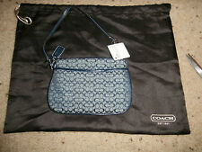 NEW NWT COACH Signature Fabric Canvas Wristlet LEATHER Purse Navy W/ DUSTBAG