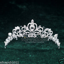 Bridal Crystal Tiara Wedding Prom Pageant Crown Veil Hair Accessory Headband