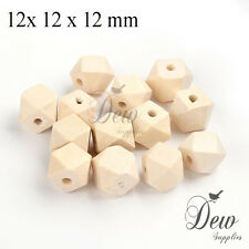 10  polygon wood beads 12 x 12 mm unpainted wooden unfinished bead