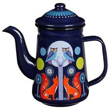 Nina Jarema Folklore Night & Day Enamel Tea or Coffee Pot Blue Camping Glamping