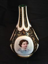 Antique 19th c. Moser Era Bohemian GREEN White Gold Cut Glass Portrait Bud Vase