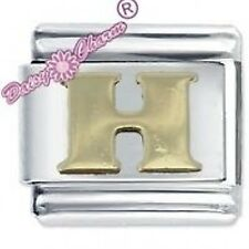 SMOOTH LETTER H - Daisy Charm by JSC Fits Classic Size Italian Charms Bracelet