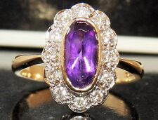 FINE 9CT YELLOW GOLD AMETHYST 0.25CT DIAMOND KATE CLUSTER ENGAGEMENT RING SIZE N