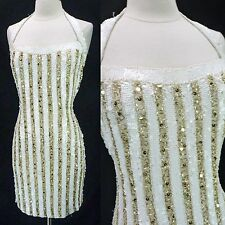 Vintage 80s 90s Gold & White Beaded Sequined Trophy Mini Prom Party Dress XS/S