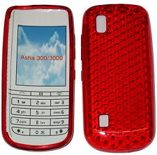 For Nokia Asha 300 / 3000 Pattern Gel Jelly Case Cover Protector Pouch Red New