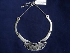 Lucky Brand Hammered Silvertone Collar Necklace, NWT