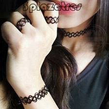 TRE 3 PCS Gothic Elastic Fishing Line Weave Necklace+Bracelet +Ring Set Gift