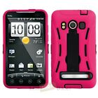 BLACK PINK IMPACT HYBRID HARD KICKSTAND CASE COVER HTC EVO 4G PHONE ACCESSORY