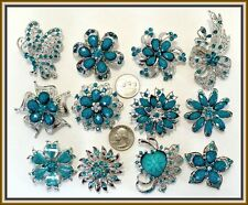 12 BLUE Vintage Style Lot Brooches Pins Faux Rhinestone Wedding Bouquet