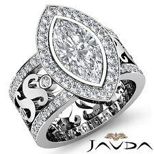 Marquise Diamond Engagement Anitque Designer Ring GIA G VS2 Platinum 950 2.3 ct