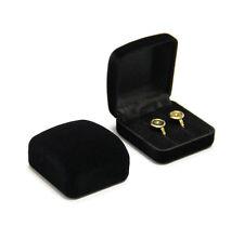 Black Red Velvet Flock Jewellery Ring Double Ring Earring Box Gift Holder Case