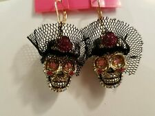 AUTHENTIC BETSEY JOHNSON WIDOW'S SKULL EAR RING WITH PINK FLOWER 2005