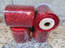 "NEW 120 FT RED OPEN WEAVE CRAFT RIBBON STRETCHY W/WIRE 4"" WIDE FREE SHIP 4 ROLLS"