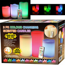 4PC COLOUR CHANGING FLICKERING FLAMELESS LED WAX MOOD VANILLA SCENTED CANDLES
