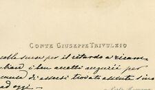 Biglietto Autografo del Conte Giuseppe Trivulzio Porta Romana Milano 1860