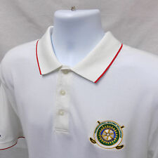 CUTTER & BUCK Mens L Golf Shirt (Large White Polo Rotary International Logo)