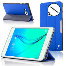 Leather Blue Folding Smart Case Cover for Samsung Galaxy Tab A 8.0 + Stylus