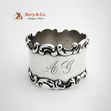 Ornate Applied Scroll Napkin Ring Sterling Silver Wallace 1890