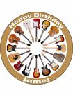 "Circle Of Classic Guitars Personalised 7.5"" Pre-Cut Edible Icing Cake Topper"