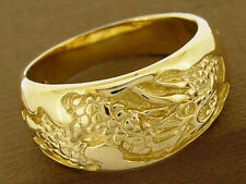 MR026 GENUINE 9K 375 Solid Yellow Gold Wide Dragon Band Ring size T / 9.75