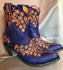 OLD GRINGO Yipee Ki Yay  EVELEIGHT  Electric Blue w/Gold Embroidery 8 NEW/ SALE
