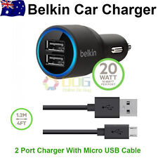 BELKIN CAR CHARGER & MICRO USB CABLE FOR SAMSUNG GALAXY S6,Note 4,S4 S3 S2 S/ACE