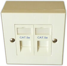 CAT5E 2 VIE dati rete OUTLET KIT, FACEPLATE, moduli, BACKBOX. LAN Ethernet