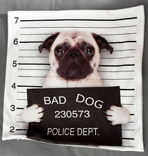 "FAWN PUG ""BAD DOG"" PHOTO CUSHION COVER CASE ANIMAL PET LOVER GIFT"