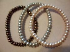 Set of 3 Copper, Pink & Mauve Freshwater Pearl Bracelets (Stretchable)