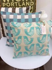 CUSHION COVER DUCK EGG BLUE COTTON CHRISTMAS NORDIC  BIRD TEAL  TAUPE SCANDI ...