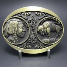 Buckle Indianer, USA, Büffel, Bison, Liberty, 1913, Messing, Gürtelschnalle