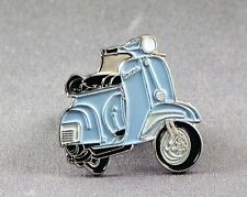 Metal Enamel Pin Badge Brooch Vespa Scooter Motorbike Biker Rider Light Blue