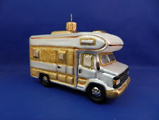 RV Camper Van Motor Home Christmas Tree Ornament Blown Glass Poland 011224