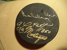 Autographed Boston Bruins Bobby Orr #4 Hockey Puck Carved Wood Armand LaMontagne